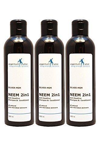 Shampooing & Après-Shampooing Anti-Poux Neem 2 en 1 Argent-MSM - Contenance : 3 x 200 ml.