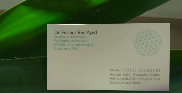 Feirouz Ben Ayed : Coach de vie Tunisie, Thérapies énergétiques : Access Bars, Chromatic Healing, MTVSS, PNL